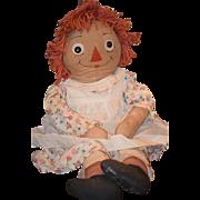 """Old Doll Cloth Doll Raggedy Ann HUGE DOLL Wonderful 33"""" Tall"""