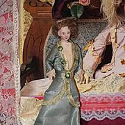 Antique Doll Miniature Bisque Dollhouse Lady Doll Wonderful Fab Dress!