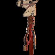 Old Toy Horse Head Stick Riding Stick Carved Wood Pony Primitive Folk Art