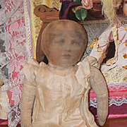 Old Doll Cloth Doll Rag Doll Printed Face Unusual Early Sweet