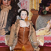 Antique Doll China Head Fancy Hair Style in Courtier Outfit Wonderful Kestner