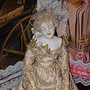 Antique Doll China Head Fancy Unusual Face Dainty Rare Turned Head Original Clothing Wigged China Head