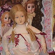 Old Doll Felt Cloth Doll Lenci ? Unusual Wonderful Face Original Clothing Salon
