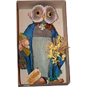 Old Owl Doll G.H. FRENCH TOYS From England Glass Eyes Unusual W/ Tag Marco Martini