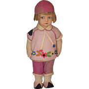 Old Doll Felt  Cloth Character Adorable in Original Clothing