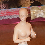 Old Doll Beautiful Half Doll China Head Bisque Arms Away Nude Risque