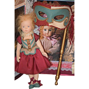 Doll R. John Wright Musette Le Bal Masque W/ Masque Original Tag Felt Doll Candy Container