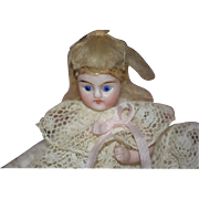 Antique Doll Miniature All Bisque Dollhouse Dressed French Market