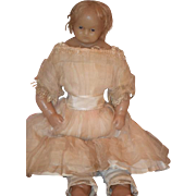 Antique Doll English Poured Wax W/ Old Toy Store Stamp