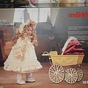 Vintage Doll Marklin Pram Carriage Buggy W/ Doll Original Box