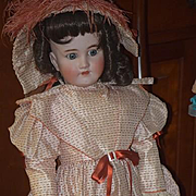 "Antique Doll Bisque Simon & Halbig Large Doll Dressed Sweet Face 28"" Tall"