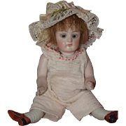 Antique Doll Miniature All Bisque Jointed Swivel Head Glass Eyes Dollhouse