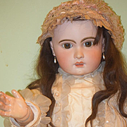 "Antique Doll French TeTe Jumeau HUGE 36"" Dressed Chunky Body Size 15 Head Size"