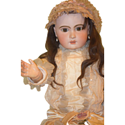 """Antique Doll French TeTe Jumeau HUGE 36"""" Dressed Chunky Body Size 15 Head Size"""