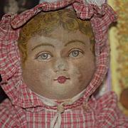 Old Doll Cloth Doll Topsy Turvy Black Doll White Doll Folk Art Primitive Oil Cloth Bruckner