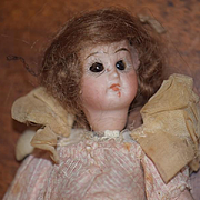 Antique Doll Bisque Dollhouse Glass Eyes Factory Clothes