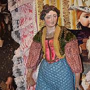 Antique Doll Creche Enamel Eyes Carved  Lady Original Costume
