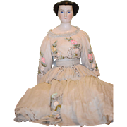 Antique Doll Waterfall 1860's China Head Unusual KLOSTER VEILSDORF  Rare Hair Style Gorgeous