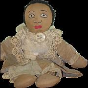 Old Doll Cloth Doll Rag Doll Folk Art Black Doll Wonderful