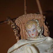 Antique Doll Miniature Bisque Doll W/ Artist Made Pram Carriage Dollhouse