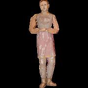 Antique Doll English Wood Carved Enamel Eyes Bone Carved Creche Doll Wonderful