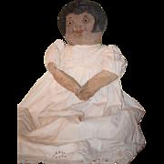 """Old Doll Cloth Doll Rag Doll Oil Cloth Doll Primitive Folk Art WONDERFUL 27"""" Tall"""