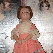 "Antique Doll Schoenhut Wood Large Girl W/ Pouty Face Large 21"" Tall Carved"