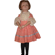 """Antique Doll Schoenhut Wood Large Girl W/ Pouty Face Large 21"""" Tall Carved"""