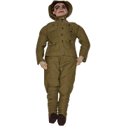 Old Doll Cloth Soldier Unusual Dough Boy in Original Clothes Character