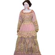 Old Doll Jenny Lind China Head Fancy Old Dress