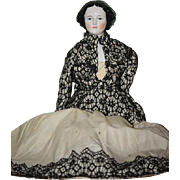 """Old Doll China Head Large Jenny Lind Doll 23"""" Tall"""