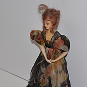 Antique French Bisque & Wax Fancy Boudoir Doll on Stand Wonderful