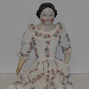 "Antique Doll China Head LARGE 30"" Dressed Center Part Kestner 1860's"