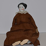 Antique Doll China Head Brown Eyes Large