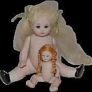 Vintage Doll Set Artist Miniature Bisque Dollhouse Adorable Signed TWO Dolls