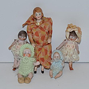 Antique Doll Set Dollhouse Family Baby Child Toddler Wonderful Miniature FIVE DOLLS