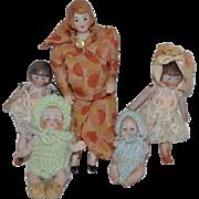 Antique Doll Set Dollhouse Family Baby Child Toddler Wonderful Miniature FIVE DOLLS