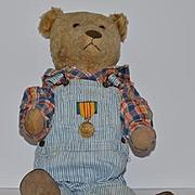Old Teddy Bear Mohair Jointed large Golden Teddy