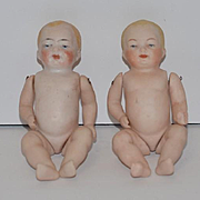 Antique Doll Set Twins Bisque Baby Dolls Miniature Dollhouse Jointed