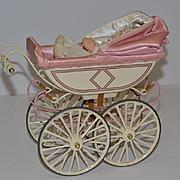 Vintage Doll Kathe Kruse & Marklin Pram Stroller Carriage Metal & Cloth Doll UFDC W/ Box
