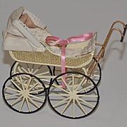 Doll Miniature Dollhouse Carriage Pram Signed
