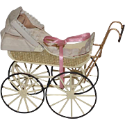 Doll Miniature Dollhouse Carriage Pram Signed