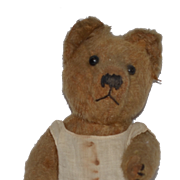 Old Teddy Bear Mohair Button Eyes Hump Back Squeaker Jointed Mohair Cabinet Size Doll Size