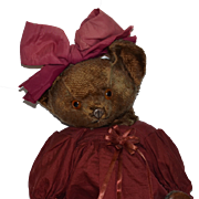 Old Teddy Bear Knickerbocker Rare Metal Nose Mohair Jointed