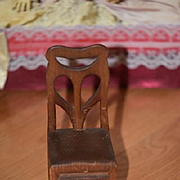 Old Doll Miniature Dollhouse Wood Carved Chair Hand Done