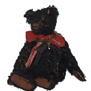 Vintage Teddy Bear Artist Bear Signed Jointed Black Bear
