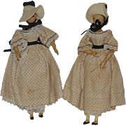 Old Doll Set Wood Carved Jointed Sherman Smith Twin Ladies Signed Artist Peg Dolls