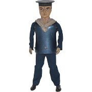 Antique Doll Toy Lehmann's German Wind- Up Working Sailor