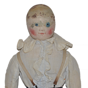 Old Doll Cloth Doll Rag Doll Oil Cloth Painted Doll Early Emma Adams Columbian