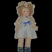 Old Cloth Doll Side Glancing Eyes Impish Smile Wonderful